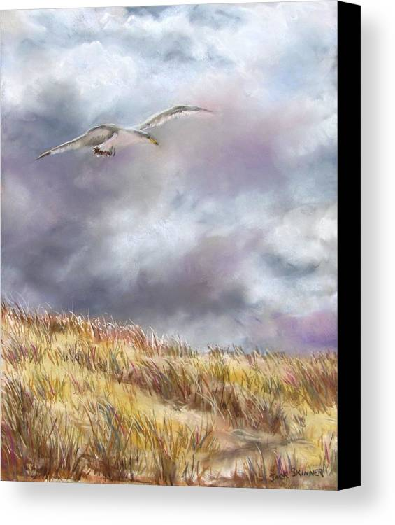 Seagull Canvas Print featuring the painting Seagull Flying Over Dunes by Jack Skinner
