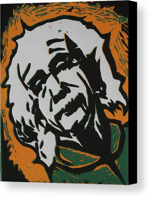 Lino Canvas Print featuring the drawing Einstein 2 by William Cauthern