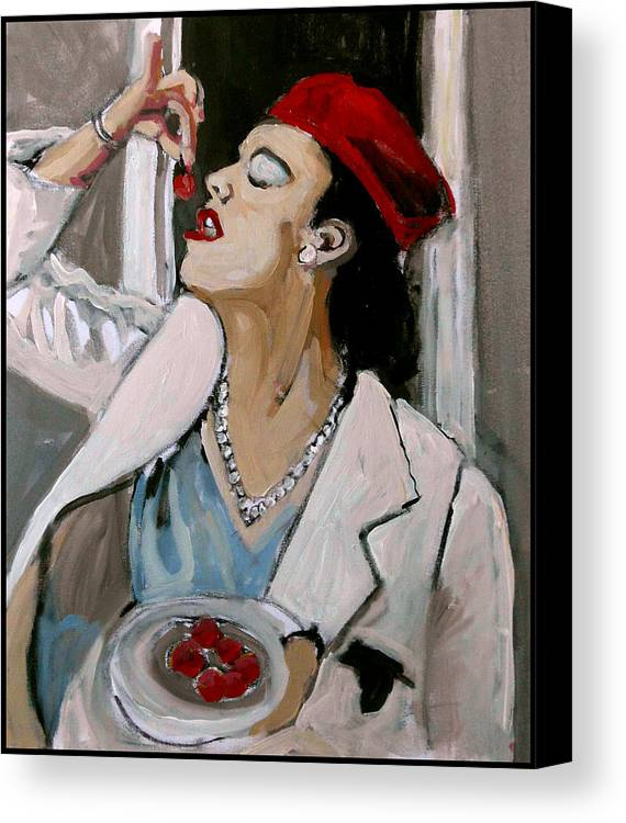 Portrait Canvas Print featuring the painting One Cherry Less by Adam Kissel