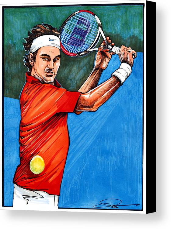 Roger Federer Canvas Print featuring the drawing Roger Federer by Dave Olsen