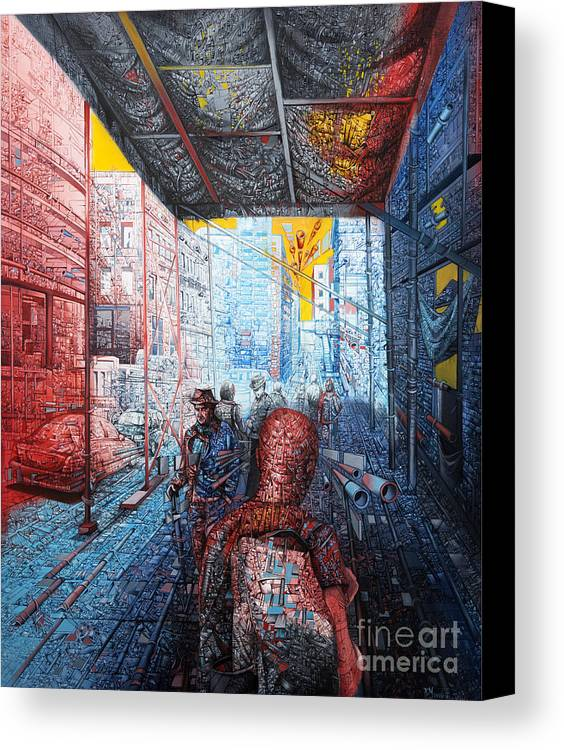 Urban Canvas Print featuring the painting Street 2 by Bekim Mehovic