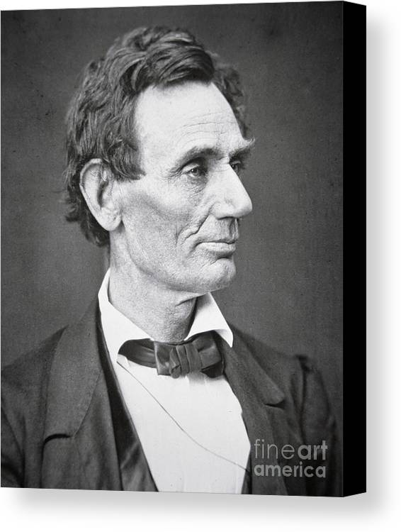 Abraham Lincoln (1809-65) 1860 (b/w Photo) By Alexander Hesler (1823-95) Canvas Print featuring the photograph Abraham Lincoln by Alexander Hesler