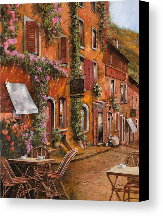Cityscape Canvas Print featuring the painting Il Bar Sulla Discesa by Guido Borelli