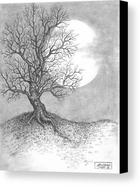 Pen And Ink Canvas Print featuring the drawing October Moon by Adam Zebediah Joseph