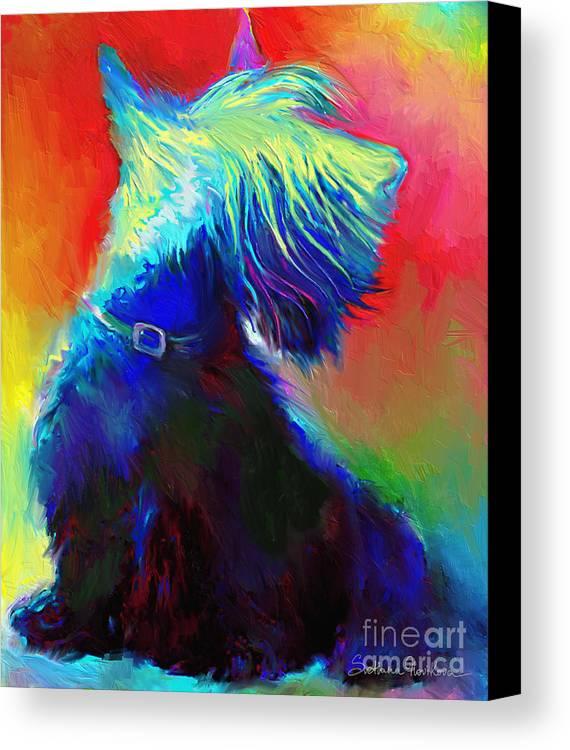 Scottish Terrier Painting Canvas Print featuring the painting Scottish Terrier Dog Painting by Svetlana Novikova