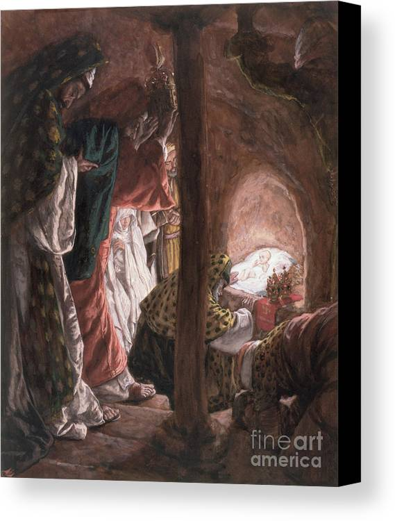 Nativity Canvas Print featuring the painting The Adoration Of The Wise Men by Tissot