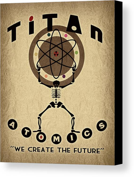 Retro Canvas Print featuring the digital art Titan Atomics by Cinema Photography