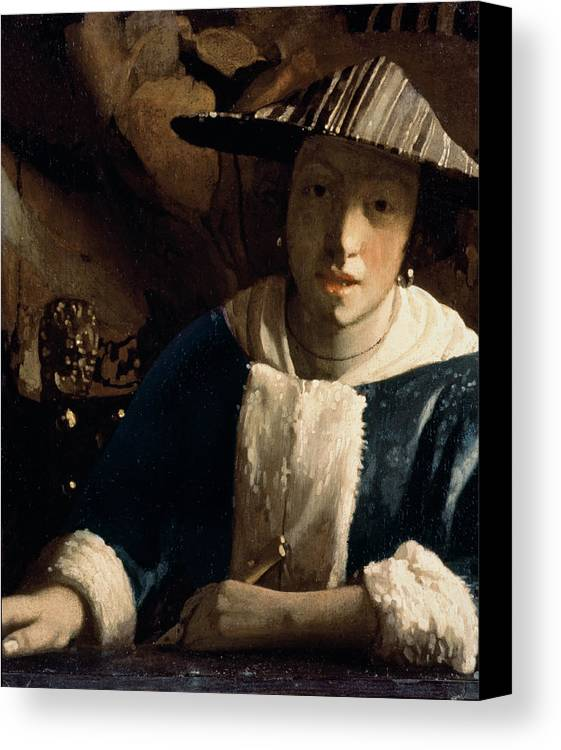 Vermeer Canvas Print featuring the painting Young Girl With A Flute by Jan Vermeer