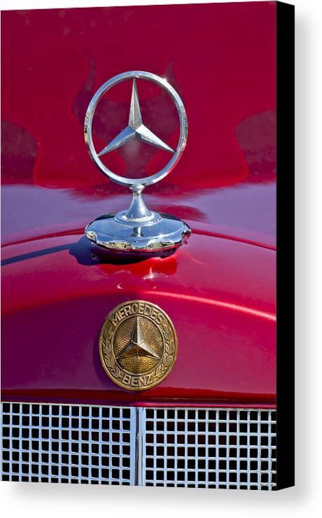 1953 Mercedes Benz Canvas Print featuring the photograph 1953 Mercedes Benz Hood Ornament by Jill Reger