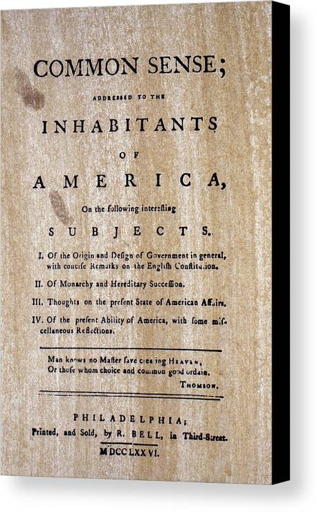 1776 Canvas Print featuring the photograph Paine: Common Sense, 1776 by Granger