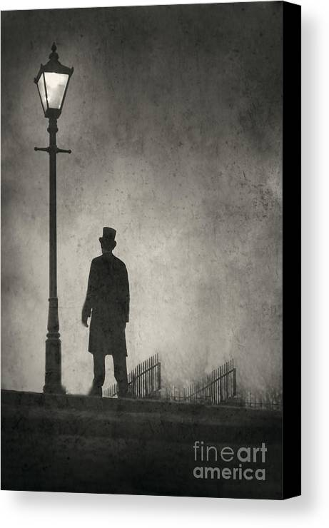 Victorian Canvas Print featuring the photograph Victorian Man Standing Next To An Illuminated Gas Lamp by Lee Avison