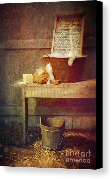Atmosphere Canvas Print featuring the photograph Antique Wash Tub With Soaps by Sandra Cunningham