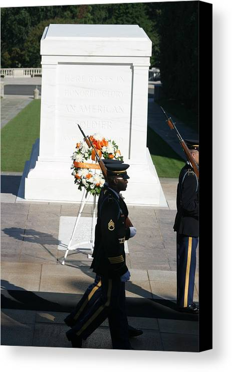 Arlington Canvas Print featuring the photograph Arlington National Cemetery - Tomb Of The Unknown Soldier - 121213 by DC Photographer