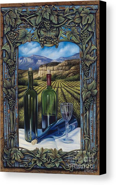Wine Canvas Print featuring the painting Bacchus Vineyard by Ricardo Chavez-Mendez