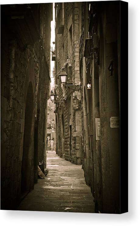 Barcelona Canvas Print featuring the photograph Barcelona Street by Mesha Zelkovich