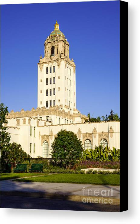America Canvas Print featuring the photograph Beverly Hills Police Station by Paul Velgos