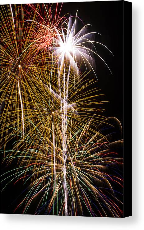 Awesome Fireworks Lights Up The Darkness Canvas Print featuring the photograph Bright Bursts Of Fireworks by Garry Gay