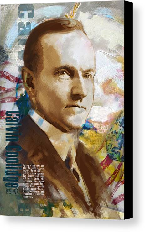 Calvin Cooldige Canvas Print featuring the painting Calvin Coolidge by Corporate Art Task Force