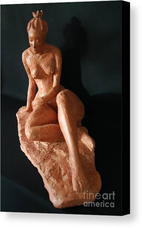 Fired Clay Sculpture Canvas Print featuring the sculpture Carrie - Front by Flow Fitzgerald
