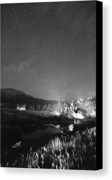 Old Churches Canvas Print featuring the photograph Chapel On The Rock Stary Night Portrait Bw by James BO Insogna