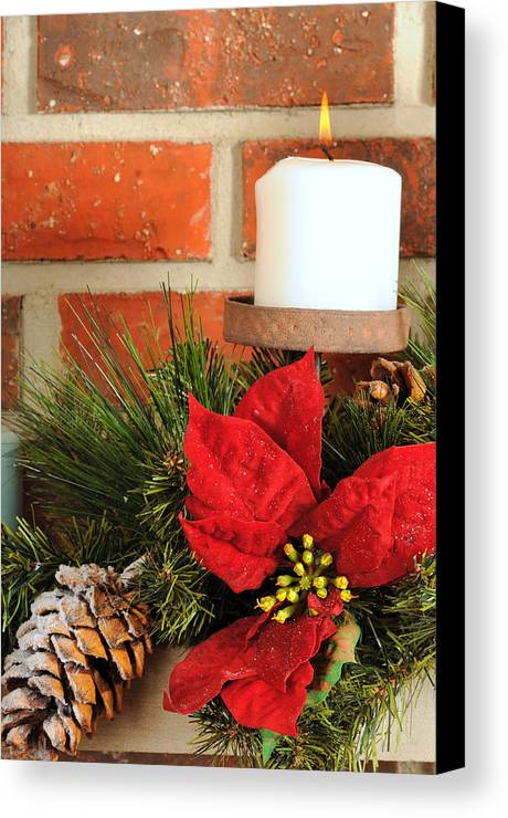 Christmas Canvas Print featuring the photograph Christmas Candle by Kenneth Sponsler