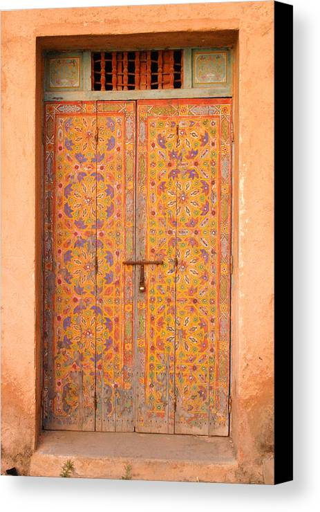 Door Canvas Print featuring the photograph Colourful Entrance Door Sale Rabat Morocco by Ralph A Ledergerber-Photography