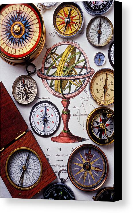 Compass Canvas Print featuring the photograph Compasses And Globe Illustration by Garry Gay