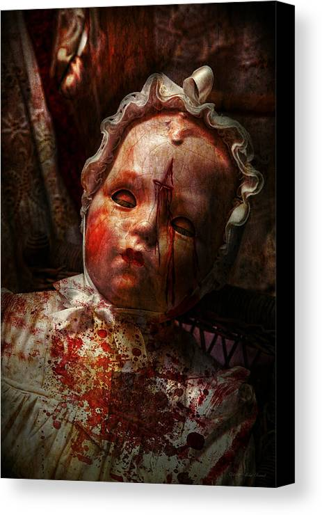 Doll Canvas Print featuring the photograph Creepy - Doll - It's Best To Let Them Sleep by Mike Savad