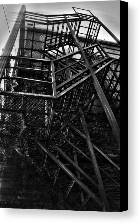 Black And White Photograph Canvas Print featuring the photograph Downtown Stairs by Kenal Louis