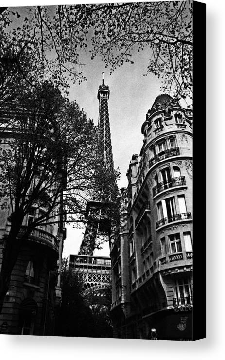 Paris Canvas Print featuring the photograph Eiffel Tower Black And White by Andrew Fare