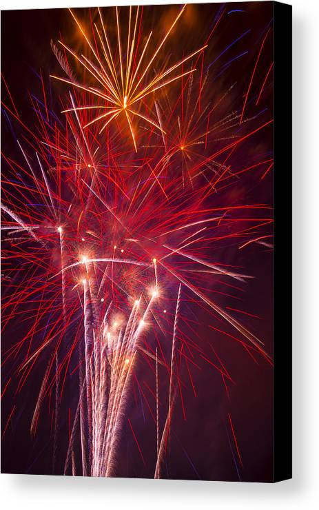 Awesome Fireworks Lights Up The Darkness Canvas Print featuring the photograph Exploding Fireworks by Garry Gay