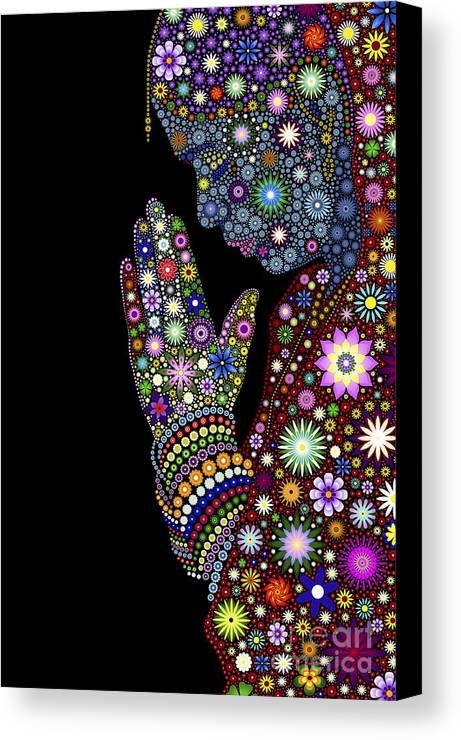 Flower Canvas Print featuring the digital art Flower Prayer Girl by Tim Gainey