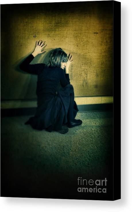 Woman Canvas Print featuring the photograph Frightened Woman by Jill Battaglia