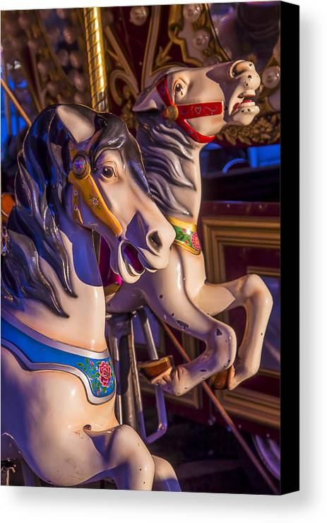 Fancy Canvas Print featuring the photograph Fun Ride Carousel Horses by Garry Gay