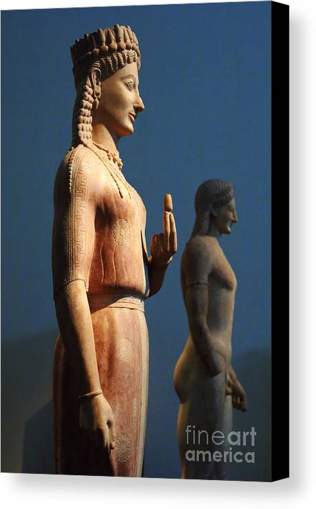 Athens Canvas Print featuring the photograph Greek Sculpture Athens 1 by Bob Christopher