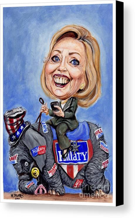 Hillary Clinton Canvas Print featuring the painting Hillary Clinton 2016 by Mark Tavares