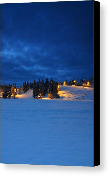 Norway Canvas Print featuring the photograph Holmenkollen Blue by Aaron S Bedell