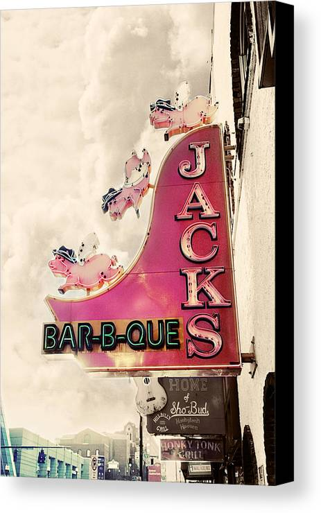 Sign Canvas Print featuring the photograph Jacks Bbq by Amy Tyler