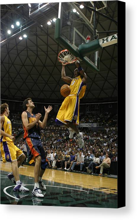 Kobe Bryant Canvas Print featuring the photograph Kobe Bryant Dunk by Mountain Dreams