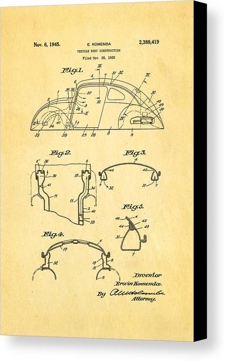 Automotive Canvas Print featuring the photograph Komenda Vw Beetle Body Design Patent Art 1945 by Ian Monk