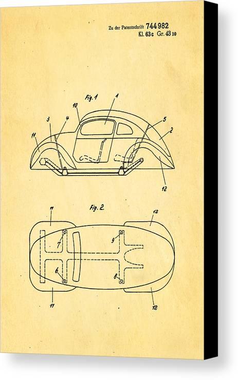 Automotive Canvas Print featuring the photograph Komenda Vw Beetle Official German Design Patent Art by Ian Monk
