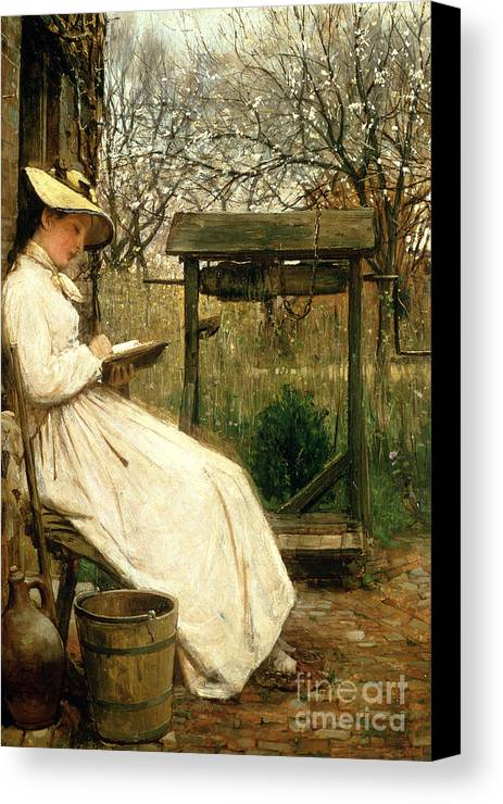 Read Canvas Print featuring the painting Leisure Hours by John Robertson Reid