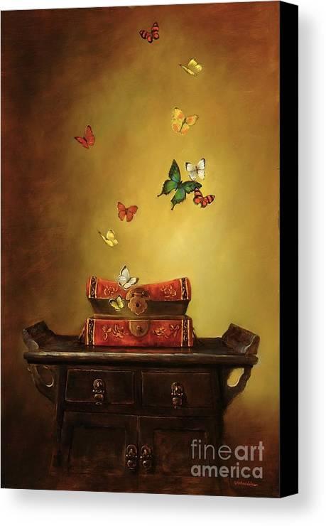 Tibetan Canvas Print featuring the painting Liberation - Tibetan Dream by Lori McNee