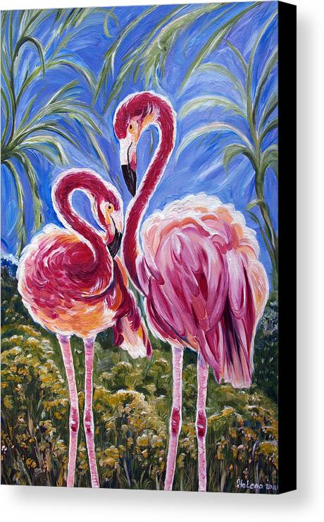 Flamingo Canvas Print featuring the painting Love Flamingos by Yelena Rubin