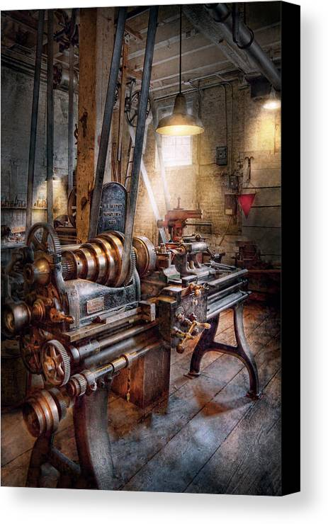 Machinists Canvas Print featuring the photograph Machinist - Fire Department Lathe by Mike Savad
