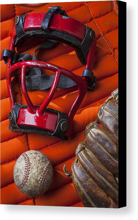 Old Canvas Print featuring the photograph Old Catcher Mask by Garry Gay