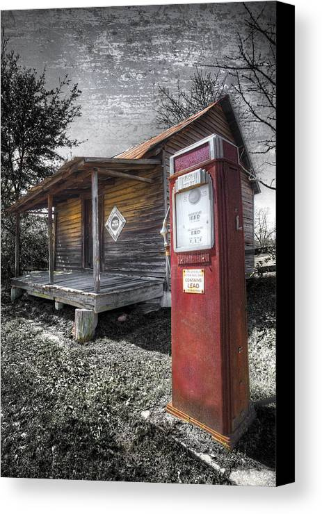 Appalachia Canvas Print featuring the photograph Old Gas Pump by Debra and Dave Vanderlaan