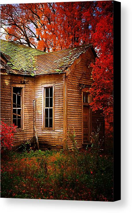 Schools Canvas Print featuring the photograph Old One Room School House In Autumn by Julie Dant