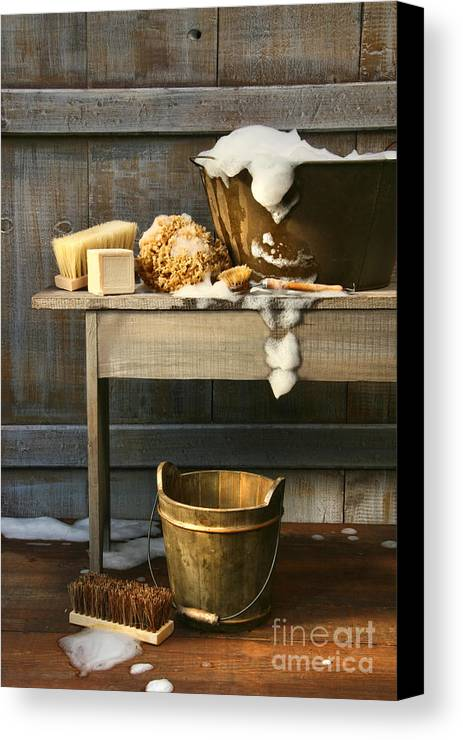 Antique Canvas Print featuring the photograph Old Wash Tub With Soap And Scrub Brushes by Sandra Cunningham