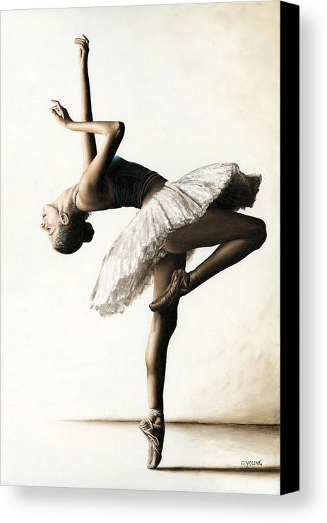 Dancer Canvas Print featuring the painting Reaching For Perfect Grace by Richard Young